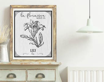 French Cottage Style Seed Packet Printable - Lily