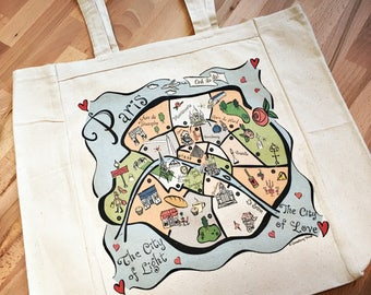 Paris City Map Tote