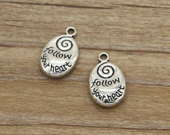 15pcs Follow Your Heart Charms Word Valentine Charms Antique Silver Tone 20x13mm cf1099