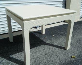Vintage Mid Century Harrisan Van Horn Textural White Lacquered Game Table