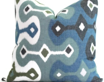 Martyn Bullard Schumacher Darya Ikat Sky  Decorative Pillow Cover Lumbar pillow - Throw Pillow - Accent Pillow