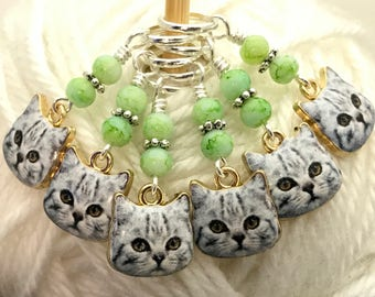 White Face Kitty Cats Stitch Marker Set- Snag Free Knitting Markers- Gift for Knitters