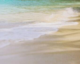 "Beach Wave Photography,  ""Ocean Waves"" Caribbean Ocean Tropical Beach Print. Turquoise, St. John, USVI, Aqua, Home Decor."