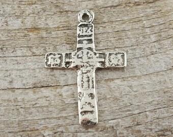 Antique Cross, Rosary, White Bronze Cross, Artisan Cross, Large Cross, Cross, Cross Pendant, Crucifix, Rustic Cross, Historic, Silver Cross