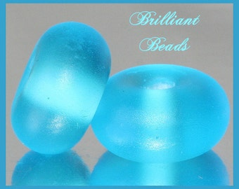 """Frosted Bright Aqua...""""Sea Glass"""" Spacer Bead Pair...Handmade Lampwork Beads SRA, Made To Order"""