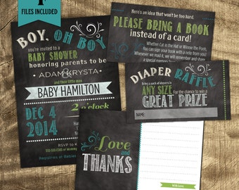 Baby Boy Shower Kit, Chalkboard Party Kit, Co-ed Baby Shower, Custom Baby Shower Invitation, Lime Green, Matching Baby Shower Kit
