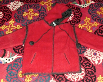 Vintage Little Red Riding Hood Ethnic Wool Jacket with Hand Crochet seams with Pom Poms and Hood with Tassel