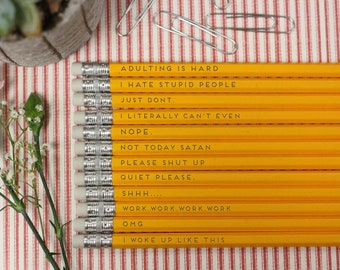 Pencil, back to school, engraved pencils, stocking stuffer, pencils, stationery, pencil pouch, funny, gag gift, Sassy --24027-PN12-110