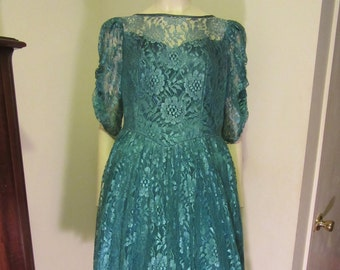 1980s Lace Prom Dress -Sheer Lace Sleeves -Tea Length Dress -1980 Party Dress -Decade Party -Teal Dress -1980 Prom Party Dress