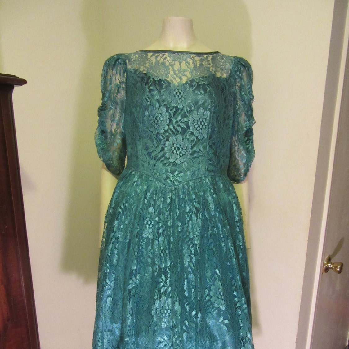 1980s Lace Prom Dress Sheer Lace Sleeves Tea Length Dress