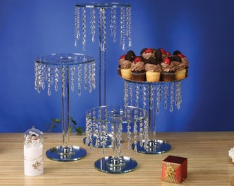 Crystal & Glass Chandelier Cake Stand By Forbes Favors With Battery LED Lights and Acrylic hanging crystals for All Occasions