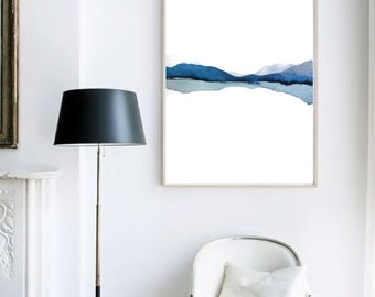Large Print Art, Large Wall Art Abstract Landscape Watercolor Painting, Modern Watercolor Print Art, Water Painting, Blue White, Reflection