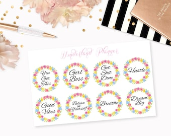 Motivational Quotes Floral Frame Decorative Planner Stickers // Perfect for Erin Condren Vertical Life Planner