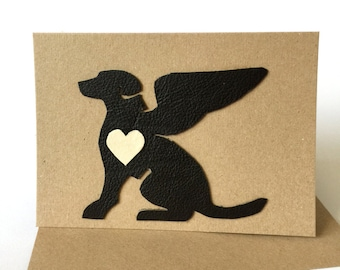 Dog Sympathy Card - Dog Loss Card - Pet Sympathy Card - Pet Loss Card - Leather Dog Angel Wings A6 size Handmade in UK