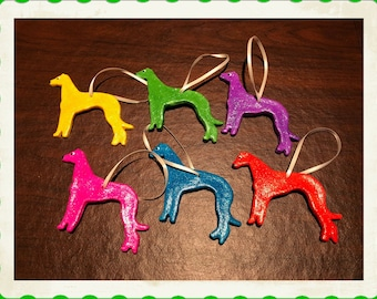 Rainbow Glitter Greyhound Christmas Ornaments - Free Shipping