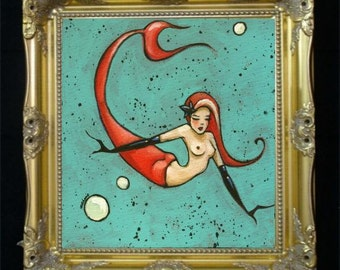 Mermaid Art Print, Nude Redhead, Female Nudity, Colorful Wall Art, Beach Decor,Nautical Home Decor,Vintage Artwork,Boudoir Art Bedroom SHANO