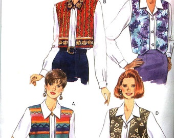 """Vintage 1995 Butterick 3955 Something Different Blouse with """"Vest Overlay"""" Misses Sz 12-16 Uncut Factory Folded"""