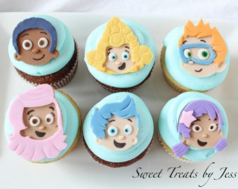 Set of 12 Bubble Guppies Fondant Edible Cupcake Toppers