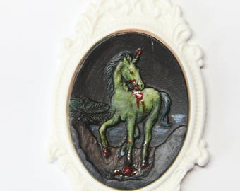 Zombie unicorn needle minder - hand painted needleminder needle nanny collectors piece only 1