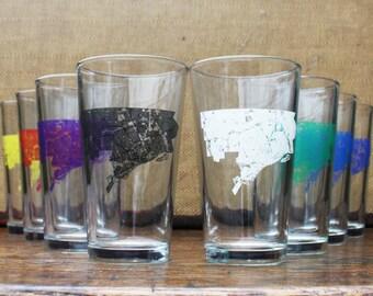 Detroit Map Pint Glass