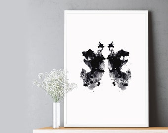 Rorschach Inkblot Test, Black Butterfly, Abstract Watercolor Shape, Printable Digital Art, Digital Poster, Inkblot Art Printable, Wall Art