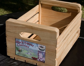 Black Forest Cherry wood crate, hand-milled orchard wood