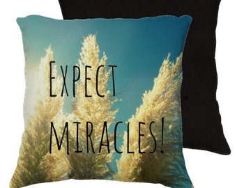 Expect Miracles  - Throw Pillow Case Cover -  Photography RDelean - Blue, Nature, Beach, Sea Grass, Sand Dunes