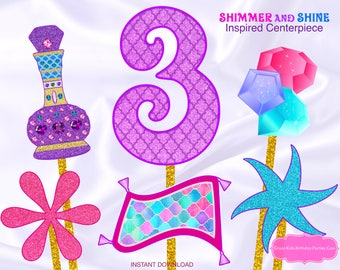 Shimmer and Shine Inspired Centerpiece Number 3- Shimmer and Shine Birthday - Shimmer and Shine Party - Shimmer and Shine Printable - Genie