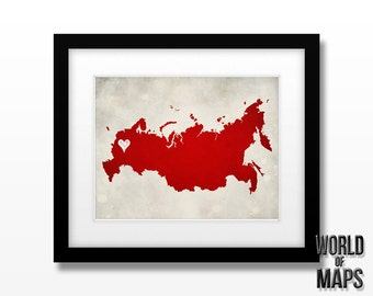 Russia Map Print - Home Town Love - Personalized Art Print