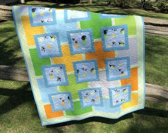 "Modern Child/Baby Quilt, ""Ewe Can Fly!"" Quilt, Sheep on Balloons Quilt, Colorful Handmade Toddler Quilt, Quiltsy Lewe the Ewe Challenge"