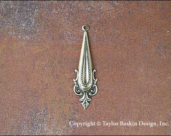Antique Polished Brass Bohemian Victorian Jewelry Earring or Pendant Jewelry Drop (item 1144 AG) - 6 Pieces