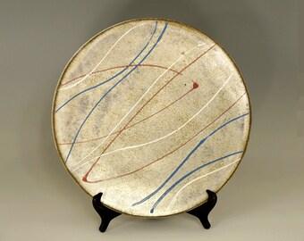 Large ceramic platter, handmade platter, serving platter, red white and blue, high fired