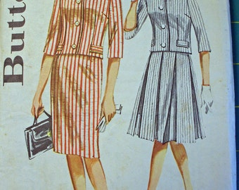 FREE SHIPPING on all patterns when you buy 3 or more - Vintaqe Butterick pattern Misses 12 two piece Dress 1965