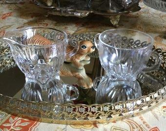 Vintage EAPG Cut Clear Glass Sugar Bowl/Dish and Creamer-Handles-Depression