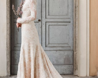 Mermaid wedding dress, trumpet wedding dress, mermaid wedding gown, trumpet wedding gown, mermaid bridal gown, lace wedding gown with sleeve