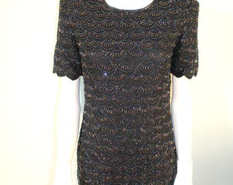 1980s silk beaded party dress. by night vogue. perfect condition. black dress, size small. formal dress. party dress.