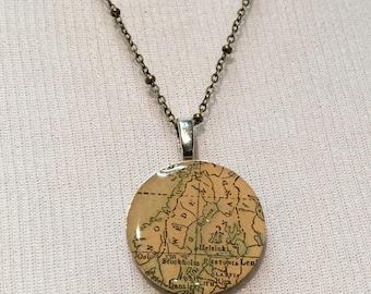 Vintage Key Pendant with Vintage Map - Sweden