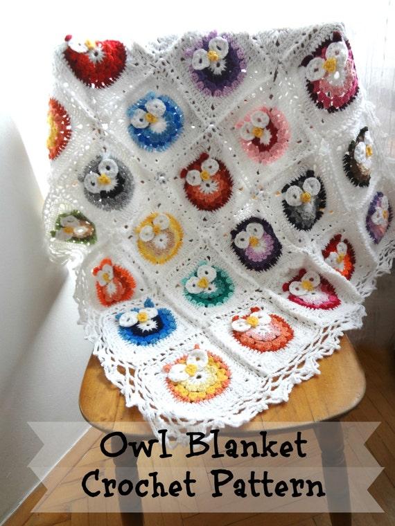 DIGITAL CROCHET PATTERN owl Blanketcrocheted blanket
