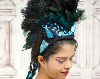 Dragon Headdress, Horned Mohawk Headpiece, Blue and Black Dragon Headpiece, Costume Headdress, Faux Mohawk, Tribal, Fantasy