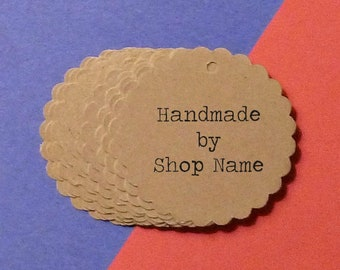"""Mini Kraft Scalloped Circle Tags 1.5"""" with twine ties . personalized pricing, gift or product tags . seller supplies . """"handmade by"""" labels"""