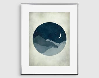 Bedroom Wall Decor, Mid Century Modern Wall Art, Art for Bedroom, Moon Art Print, Moon and Stars, Home Decor, Starry Night