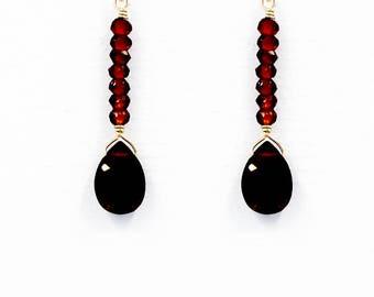 Beaded Garnet Drop Earrings