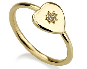 heart star ring, heart ring, star ring, diamond pinky ring, pinky ring, trendy ring, fashion ring, diamond ring, black diamond ring, gift