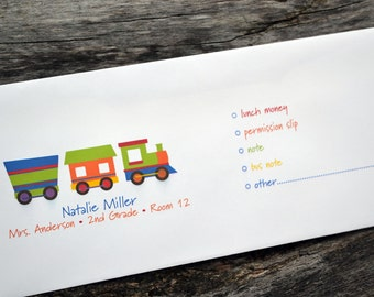 Personalized School Money Envelope for Money and Notes - Train Design - Personalized School Envelopes - Choo Choo Train Envelopes