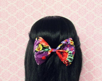 Floral Collision Hair Bow - French Barrette, Fun Bright Colourful Vibrant Hair Bow for Summer, Floral Print Hair Bow