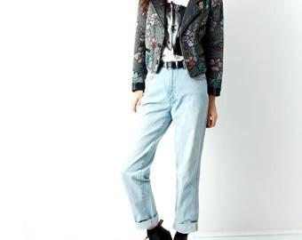Vintage Tapestry Jacket / Blanket Jacket / Cropped Jacket / Carpet Jacket / Boho Jacket / Cotton / Size M