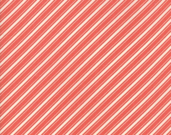 Ella and Ollie - Ticking Stripe in Strawberry Red : sku 20306-21 cotton quilting fabric by Fig Tree and Co. for Moda Fabrics