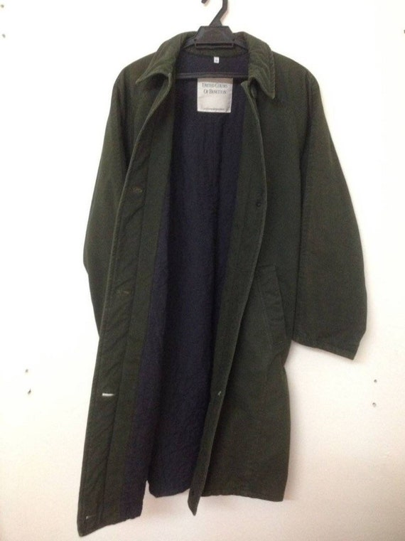 Quilted Army Parka Olive Green Winter Wear Camo Benetton Military 7nqfOxfB