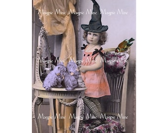 Little Vintage Witch - Halloween 3 x 5 Inches - Cats Bird Magic - Single Image