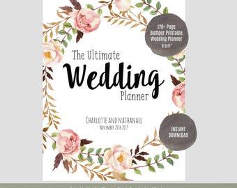 """Wedding Planner, Printable Wedding Planner, Wedding Binder, DIY planning organizer, 8.5x11"""" Instant Download PDF"""